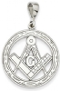 14k White Gold Large Masonic Pendant Model # 362109