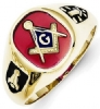 Red Acrylic Masonic Ring Model # 362114