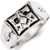 Sterling Silver Antiqued Masonic Ring Model # 362118
