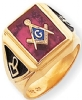 14k Gold Synthetic Ruby Masonic Ring Model # 362119