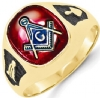 14k Gold Synthetic Ruby Masonic Ring Model # 362123