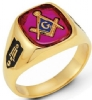 14k Gold Synthetic Ruby Masonic Ring Model # 362127