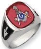 14k Gold Synthetic Ruby Masonic Ring Model # 362158