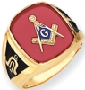 14k Gold Synthetic Ruby Masonic Ring Model # 362159
