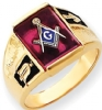 14k Gold Synthetic Ruby Masonic Ring Model # 362164