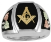 Large Profile Black Hills Gold Masonic Ring Model # 363970